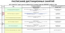 Расписание дистанционных занятий зимней сессии 2021 года